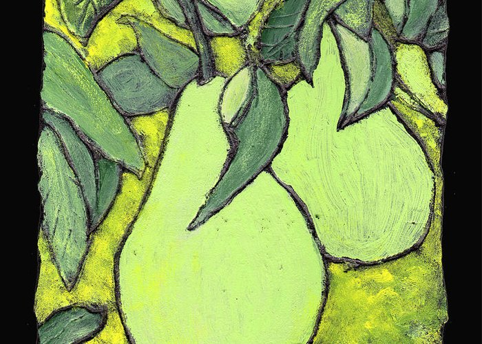 Pears Greeting Card featuring the painting Michigan Pears by Wayne Potrafka