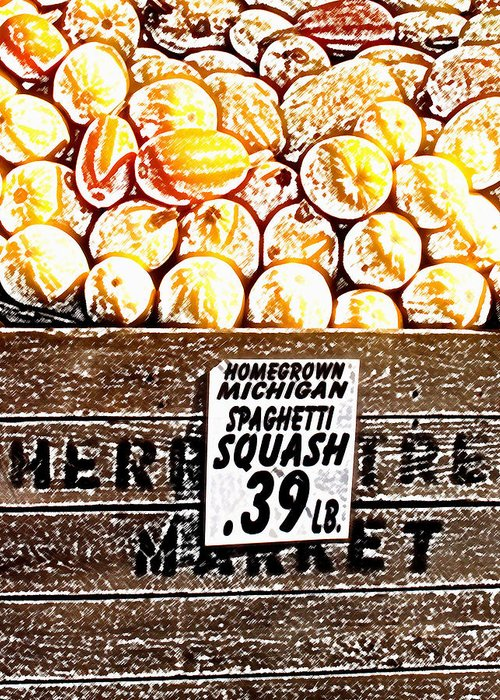 Altered Greeting Card featuring the photograph Michigan Squash For Sale by Wayne Potrafka