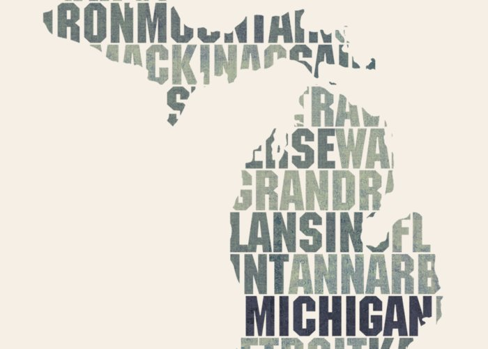 Michigan state outline word map greeting card for sale by design michigan greeting card featuring the mixed media michigan state outline word map by design turnpike m4hsunfo