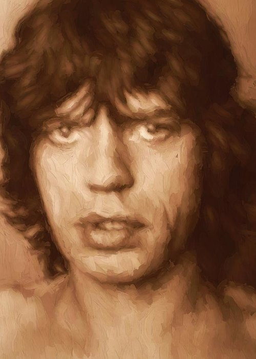Mick Jagger Poster Greeting Cards