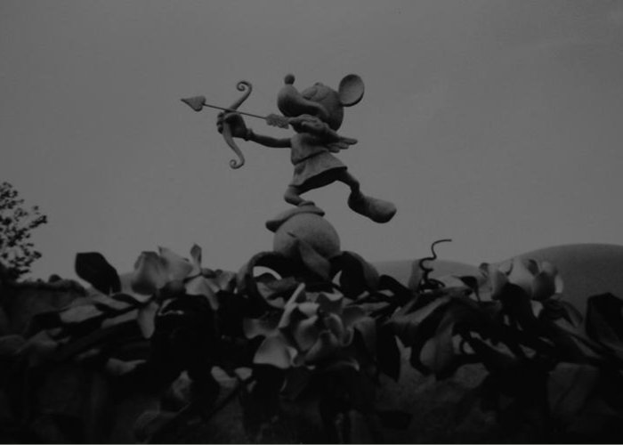 Black And White Greeting Card featuring the photograph Mickey Mouse In Black And White by Rob Hans