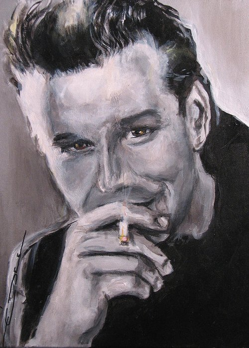 Mickey Rourke Greeting Card featuring the painting Mickey Rourke by Eric Dee