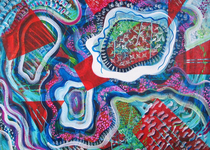 Abstract Greeting Card featuring the painting Microcosm IX by Rollin Kocsis