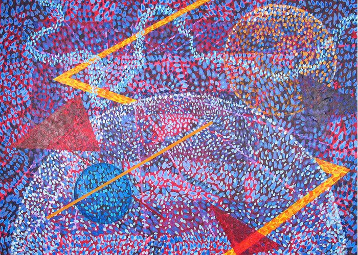 Abstract Greeting Card featuring the painting Microcosm XV by Rollin Kocsis