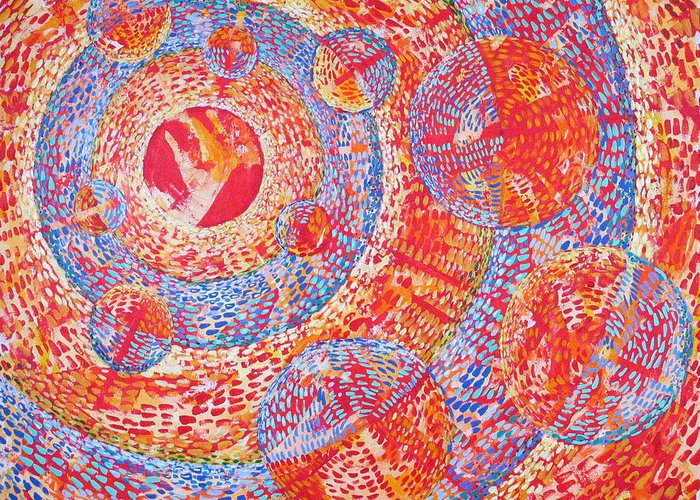 Pointillism Greeting Card featuring the painting Microcosm Xviii by Rollin Kocsis