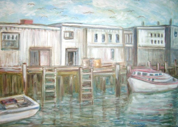 Seascape-dock Greeting Card featuring the painting Mid Central Pier by Joseph Sandora Jr