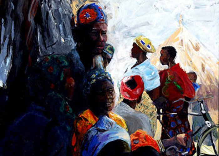 African Village Greeting Card featuring the painting Mid Day Gathering by Michelle Winnie