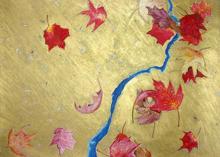 Abstract Greeting Card featuring the painting Midas Fall by Steve Karol