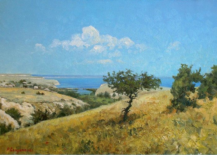 Landscape Greeting Card featuring the painting Midday On The Volga by Andrey Soldatenko