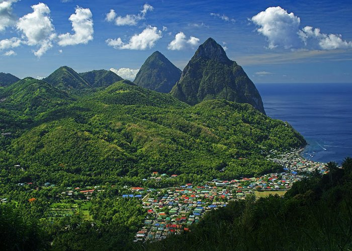 St Lucia Greeting Card featuring the photograph Midday- Pitons- St Lucia by Chester Williams