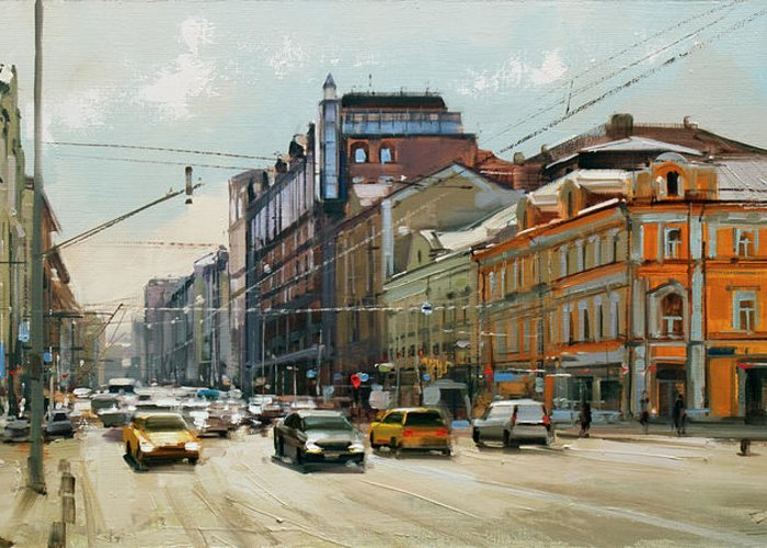 Spring Coolness Greeting Card featuring the painting Midday. Tver Stream. Tverskaya Zastava Square. by Alexey Shalaev