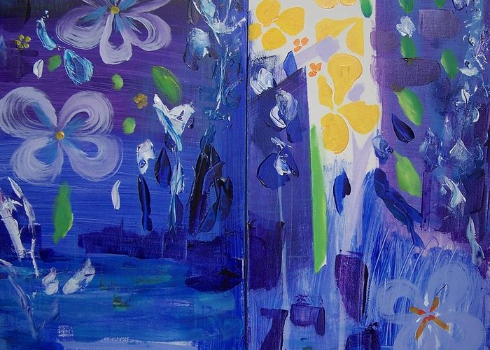 Blue Flowers Greeting Card featuring the painting Midnight Blue by Geraldine Liquidano