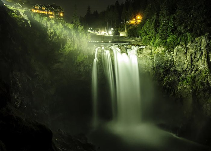 Snoqualmie Falls Greeting Card featuring the photograph Midnight Curtain by Ryan McGinnis