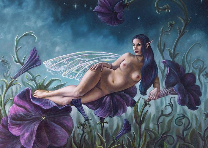 Nude Greeting Card featuring the painting Midnight Dream by Carol Phillips