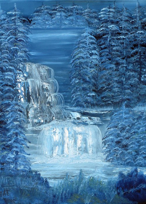 Waterfall Greeting Card featuring the painting Midnight Falls by Mikki Alhart