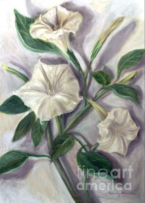 Flower Greeting Card featuring the painting Midnight Ghost by Randy Burns