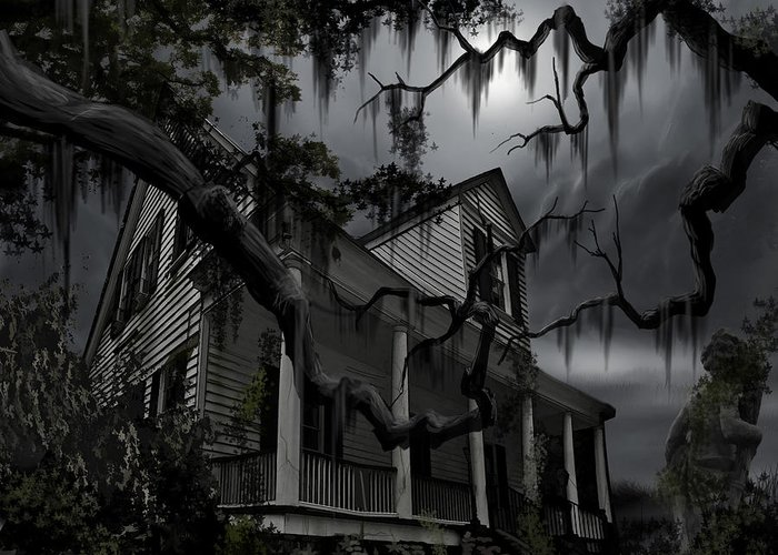 Ghosts Greeting Card featuring the painting Midnight In The House by James Christopher Hill