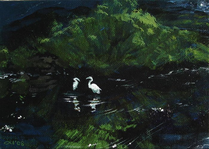 Herons Greeting Card featuring the painting Midnight by Jill Iversen