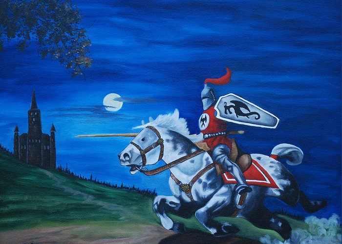 Landscape Greeting Card featuring the painting Midnight Joust by Lisa Gabrius