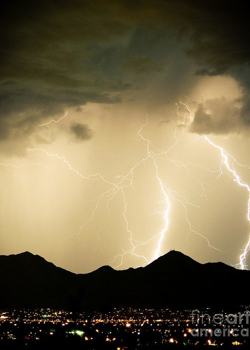 Arizona Lightning Storms Greeting Card featuring the photograph Midnight Lightning Storm by James BO Insogna