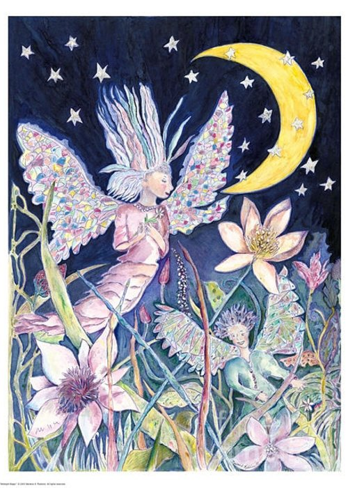Angel Greeting Card featuring the painting Midnight Magic by Marlene Robbins