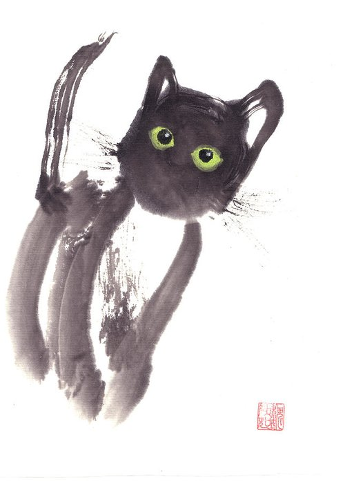 A Curious Black Kitten. This Is A Contemporary Chinese Ink And Color On Rice Paper Painting With Simple Zen Style Brush Strokes.  Greeting Card featuring the painting Midnight by Mui-Joo Wee