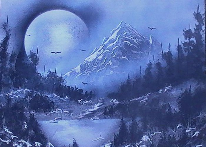 Spray Paint Greeting Card featuring the painting Midnight by My Imagination Gallery