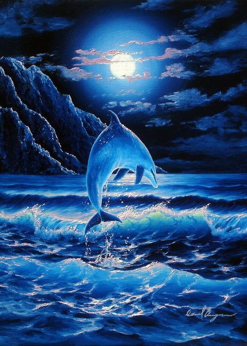 Dolphin Greeting Card featuring the painting Midnight Play by Daniel Bergren