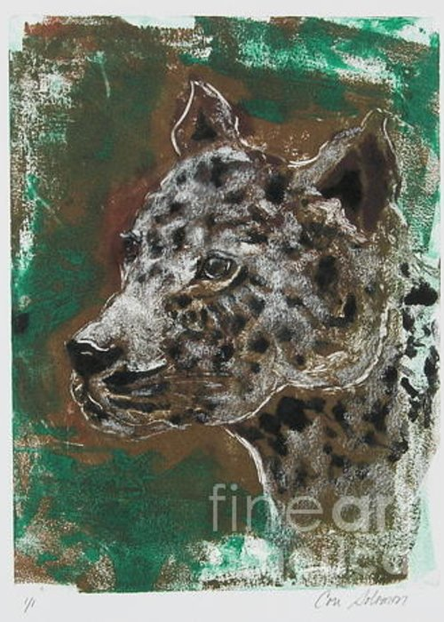 Monotype Greeting Card featuring the mixed media Midnight Prowler by Cori Solomon