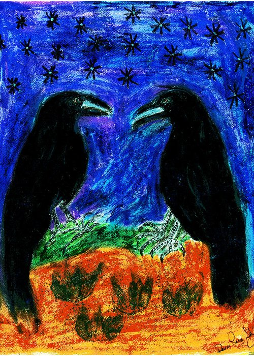 Ravens Greeting Card featuring the pastel Midnight Romance by Dawna Raven Sky