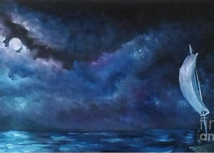 Greeting Card featuring the painting Midnight Sail by Affordable Art Halsey