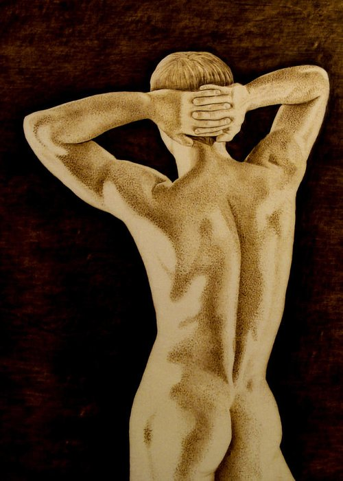 Pyrography; Sepia; Nude; Male; Back; Pointillism; Shadow; Hands; Naked; Muscles; Greeting Card featuring the pyrography Midnight Stretch by Jo Schwartz