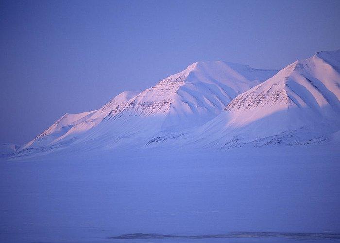Spitsbergen Greeting Card featuring the photograph Midnight Sunset On Polar Mountains by Gordon Wiltsie