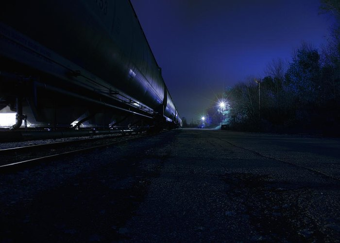 Night Greeting Card featuring the photograph Midnight Train 1 by Scott Hovind