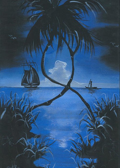 Moonlit Night Greeting Card featuring the painting Midnite by Herold Alveras