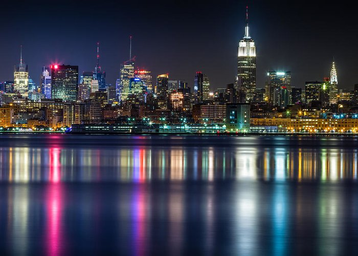 New York Greeting Card featuring the photograph Midtown Manhattan From Jersey City At Night by Val Black Russian Tourchin