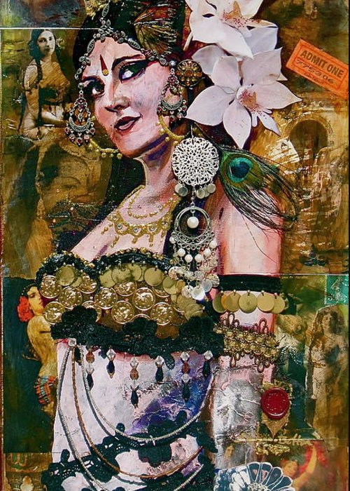 Belly Dance Greeting Card featuring the painting Midway Magic by Stephanie Bolton