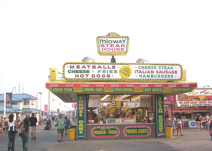 Nj Greeting Card featuring the photograph Midway Steak House - The Boardwalk At Seaside by Bob Palmisano
