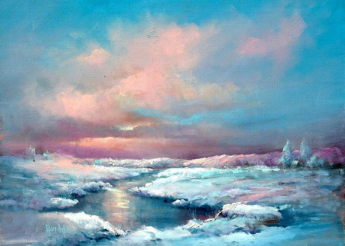 Snow Greeting Card featuring the painting Midwest Snowfall by Sally Seago