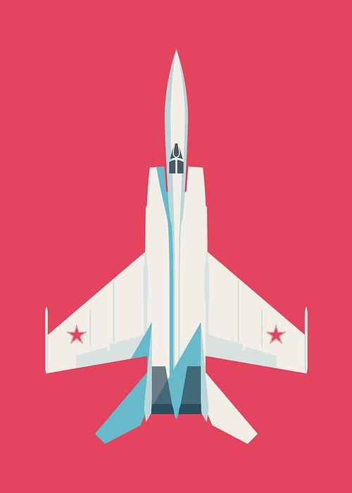 Jet Greeting Card featuring the digital art Mig-25 Foxbat Interceptor Jet Aircraft - Crimson by Ivan Krpan