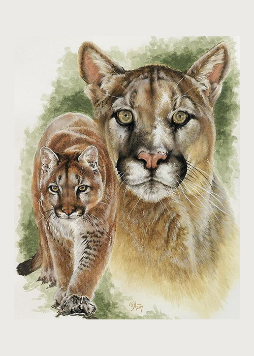 Cougar Greeting Card featuring the mixed media Mighty by Barbara Keith