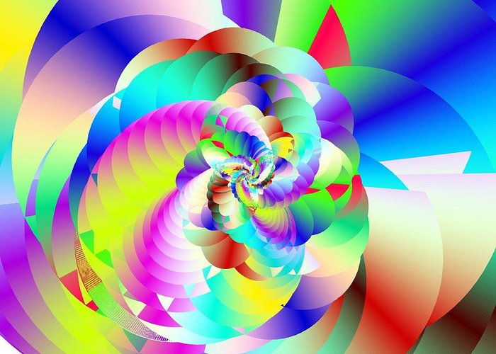 Rainbow Fractal Clouds Greeting Card featuring the digital art Mighty Clouds Of Joy by Michael Skinner