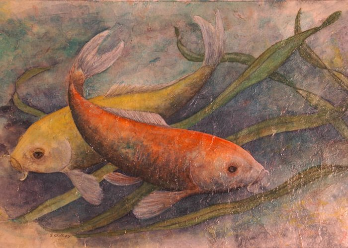 Koi Greeting Card featuring the painting Mike And Skippy by Sandy Clift