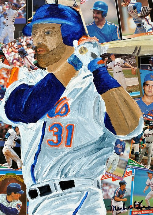 Mets Greeting Card featuring the painting Mike Piazza by Michael Lee