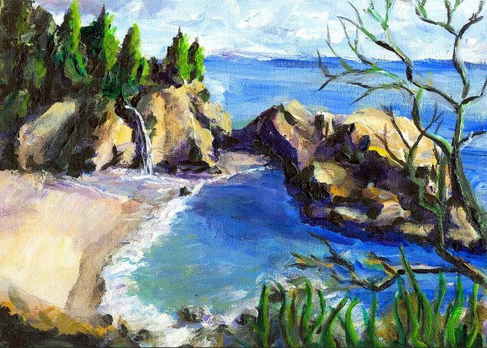 Waterfall Greeting Card featuring the painting Mikes Beach by Randy Sprout