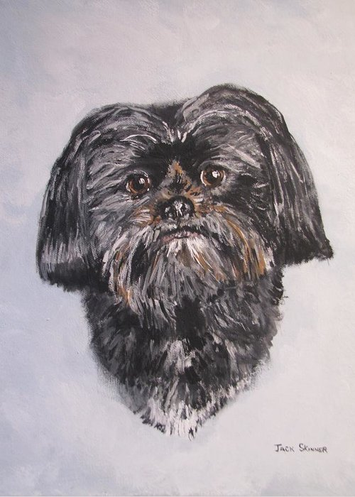 Dog Greeting Card featuring the painting Mikey by Jack Skinner