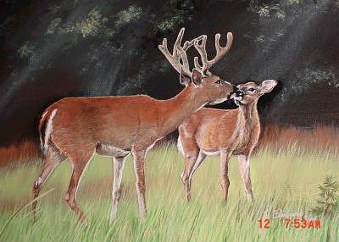 Deer Greeting Card featuring the painting Mikeys Deer by Terri Flowers