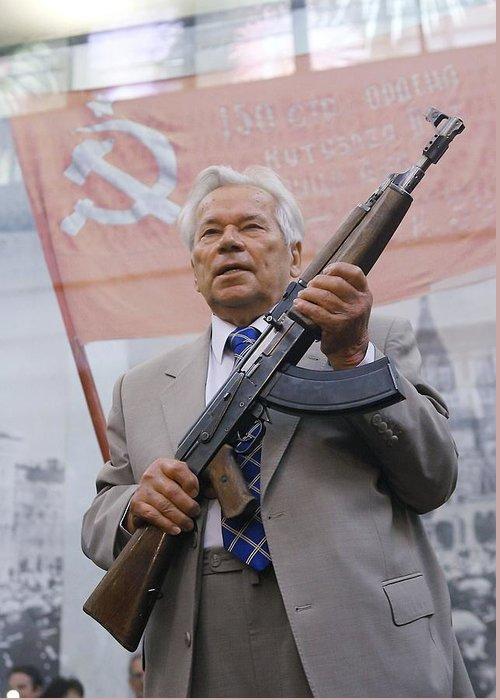 Kalashnikov Greeting Card featuring the photograph Mikhail Kalashnikov, Russian Gun Designer by Ria Novosti
