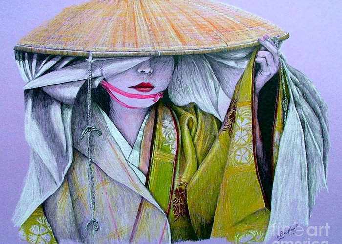 Geisha Greeting Card featuring the drawing Miki-san by Dan Hausel