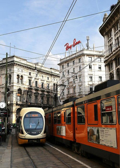 Milan Greeting Card featuring the photograph Milan Trolley 4 by Andrew Fare